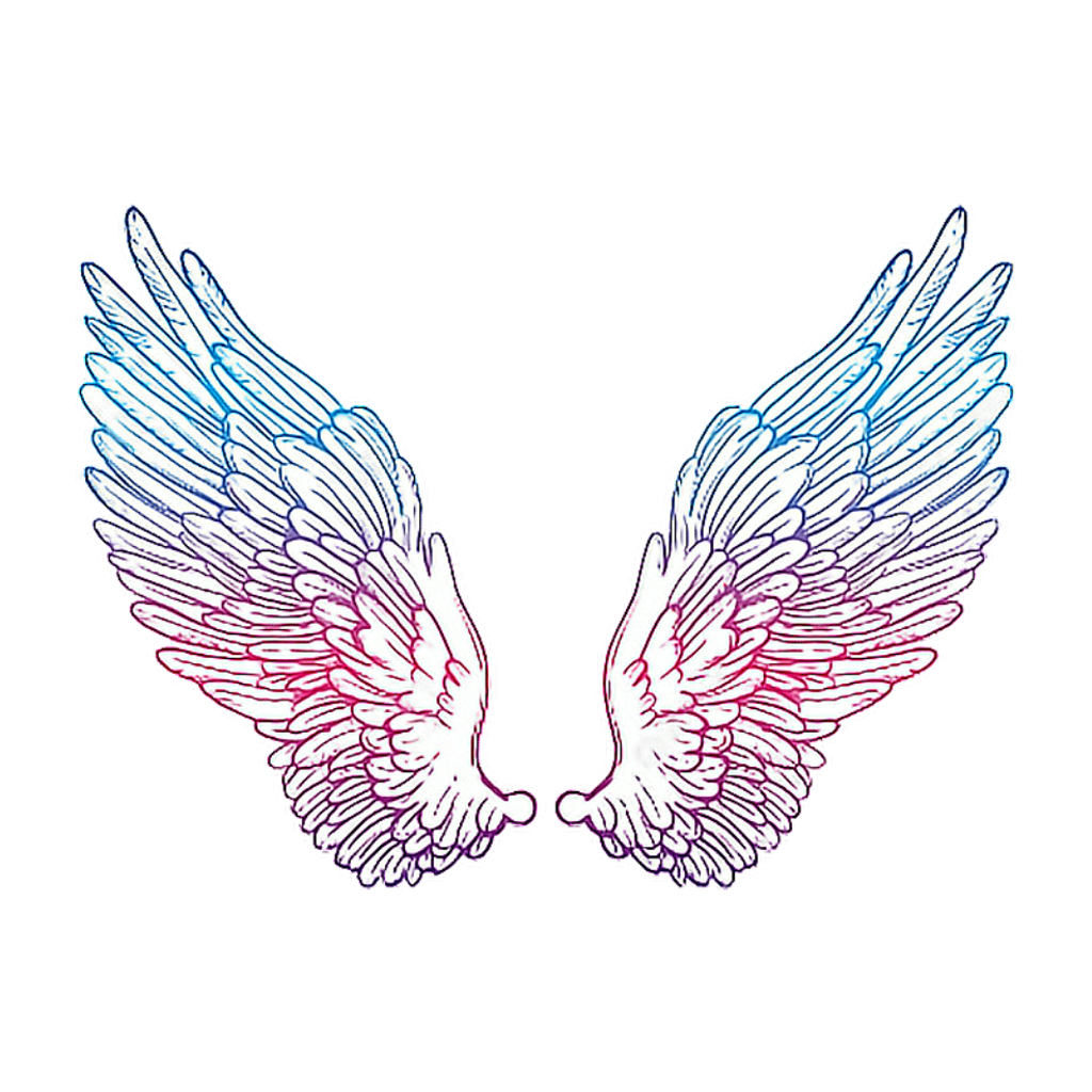 Angelwings drawing colorful sticker. Wing clipart picsart