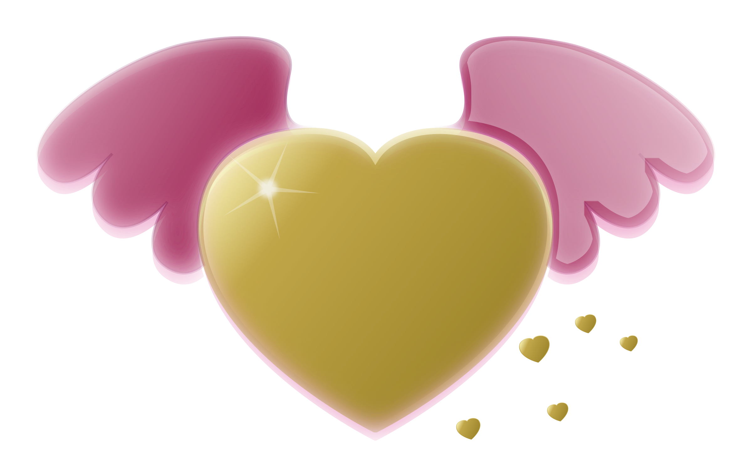 Gold heart with wings. Wing clipart pink