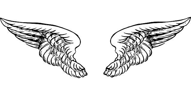 Wing clipart public domain. Black white cartoon angel