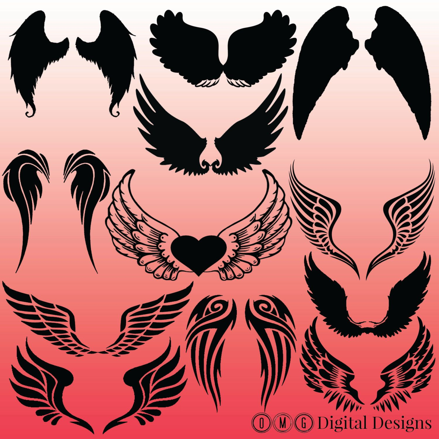 angel wings images. Wing clipart silhouette