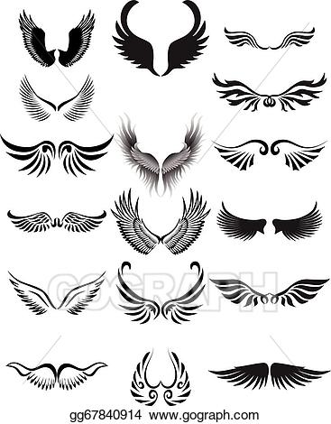 Wing clipart silhouette. Vector art wings collection