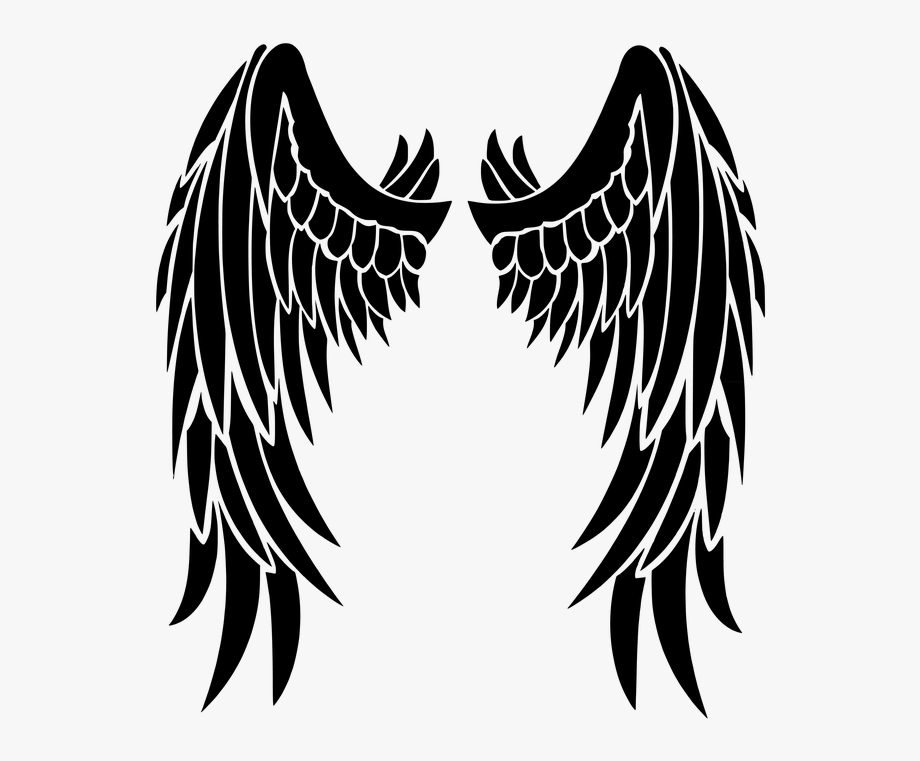 Beautiful black wings transparent. Wing clipart silhouette angel