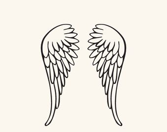 Wing clipart silhouette angel. Svg and dxf file