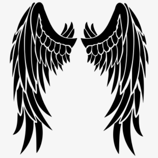 Beautiful black wings transparent. Wing clipart silhouette