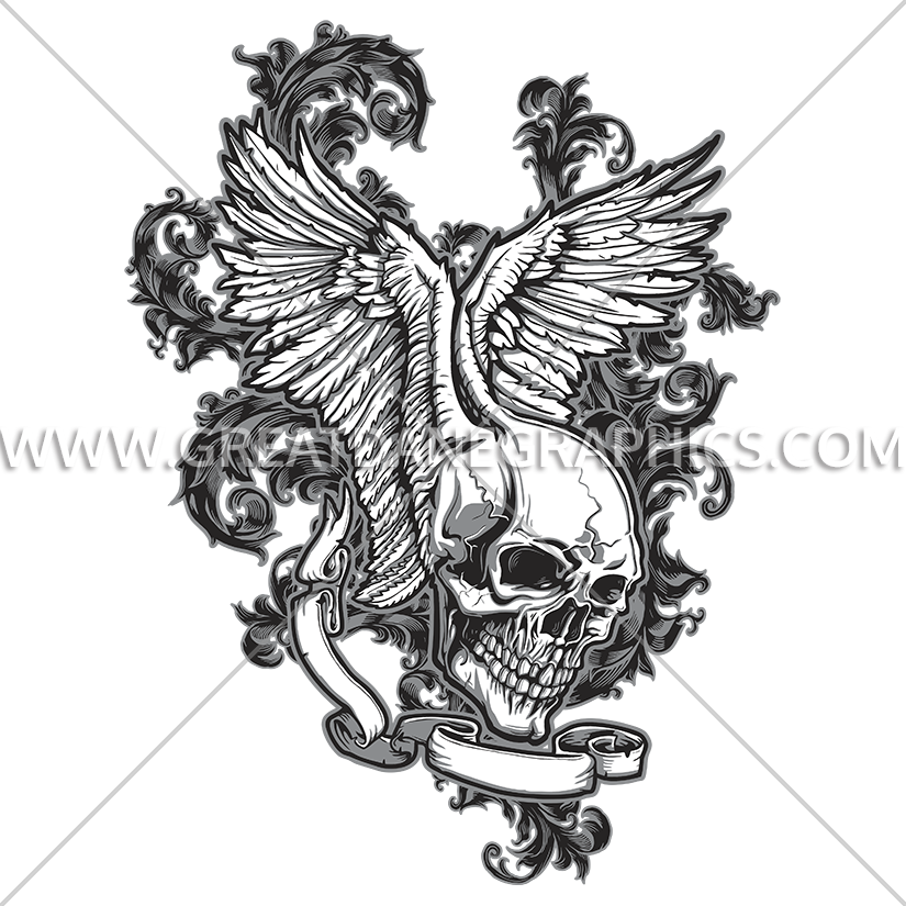 Wing clipart skull. Wings production ready artwork