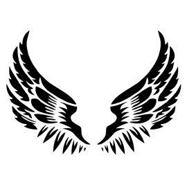 Wing clipart stencil. Angel wings owl tattoo