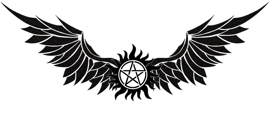 Wing clipart supernatural. Anti possession tattoo from