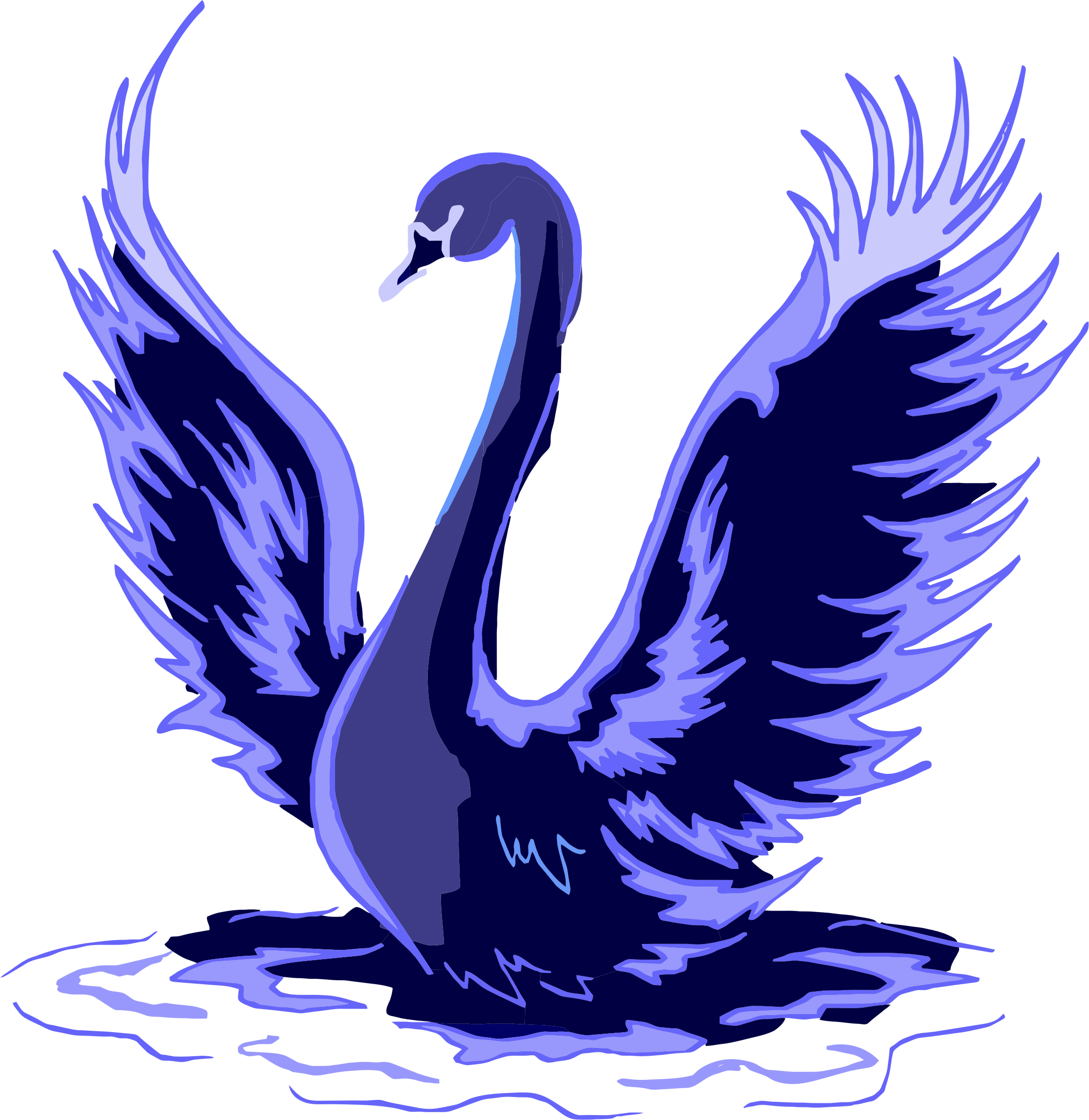 Stylized blue big image. Wing clipart swan