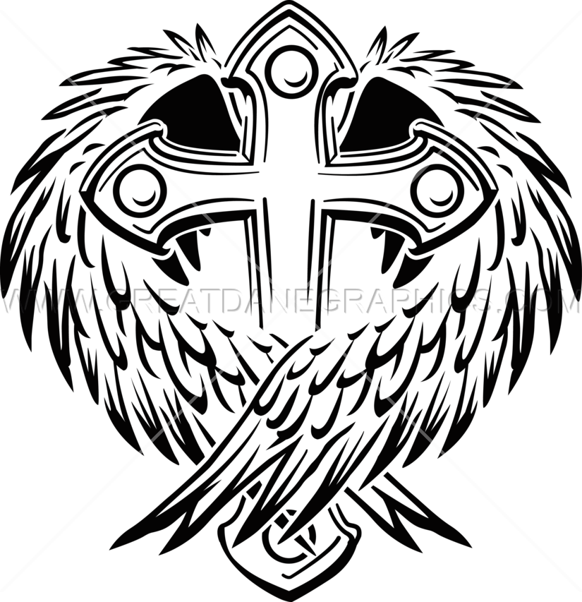 Cross with wings production. Wing clipart vector