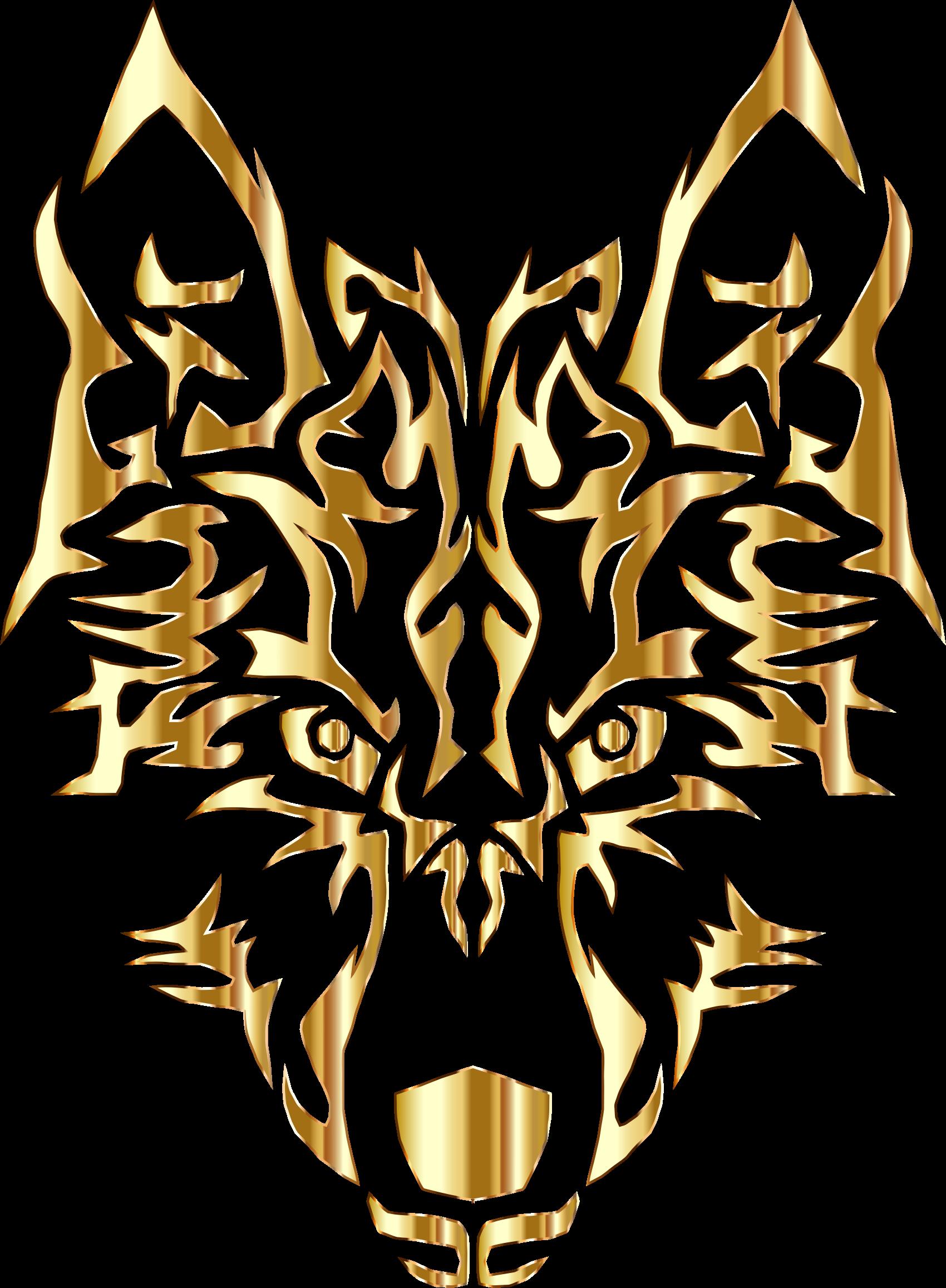 Wolf clipart tribal. Gray gold clip art