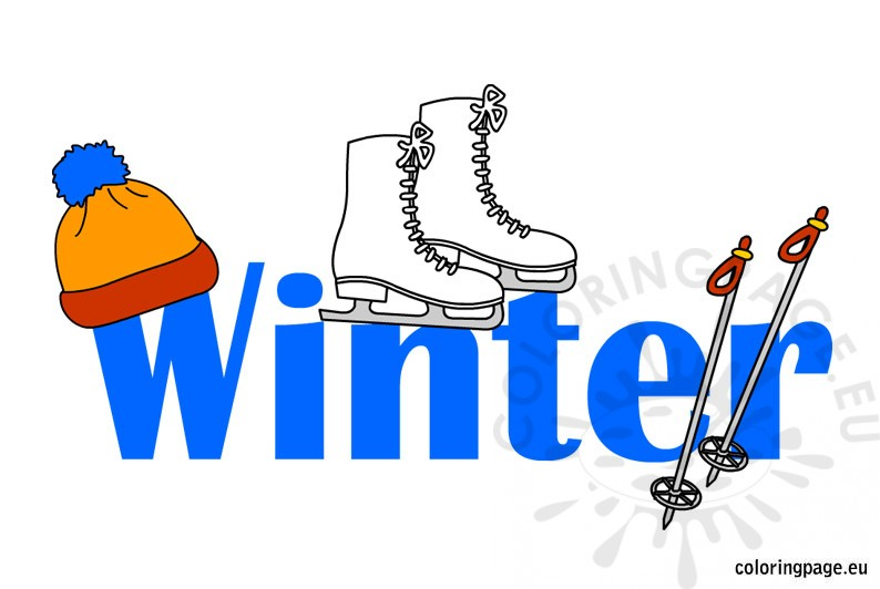 Winter clipart. Illustration coloring page
