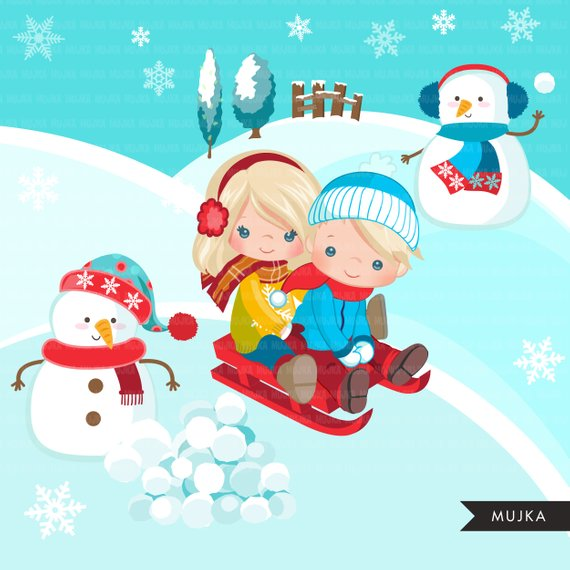 Winter clipart activity. Sled snow background with