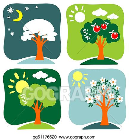 Drawing seasonal trees gg. Winter clipart apple tree