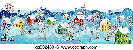 Eps vector horizontal stock. Winter clipart banner