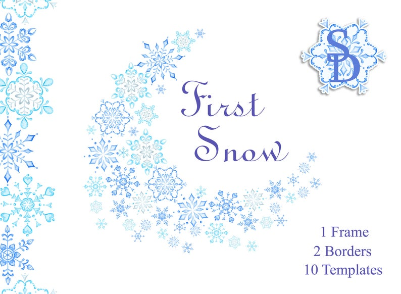 Snowflakes frame border template. Winter clipart blue