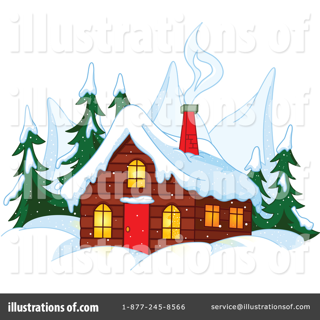 Winter clipart cabin. Illustration by pushkin
