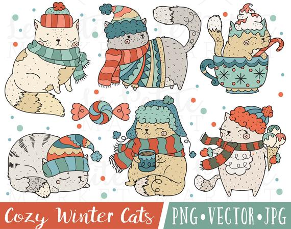Winter clipart cat. Images holiday cute clip