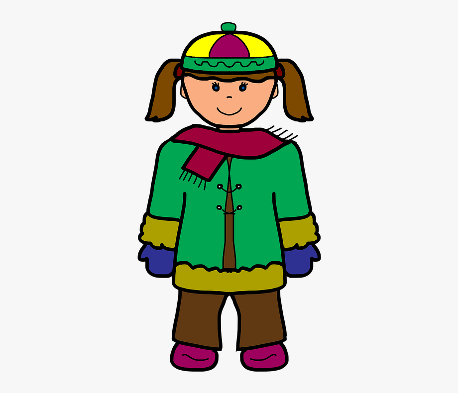Girl cartoon scarf . Winter clipart cold