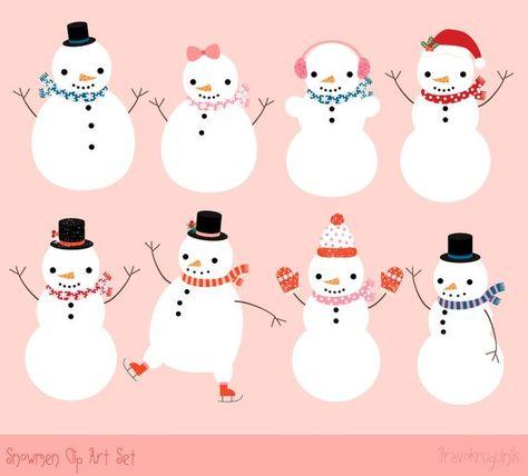 Cute snowman instant download. Winter clipart couple