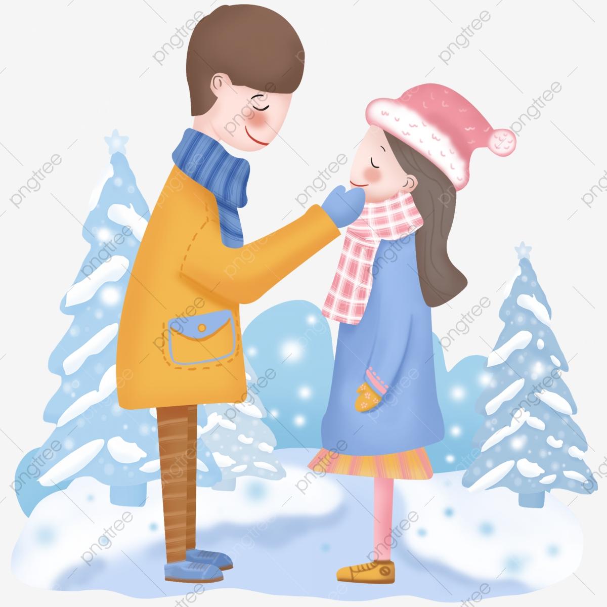 Winter clipart couple. Hand drawn cartoon scene