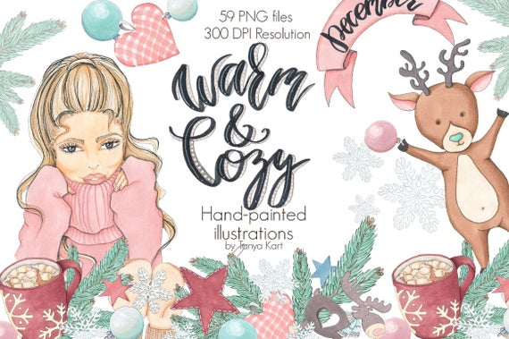 Winter clipart cozy. Warm and christmas december