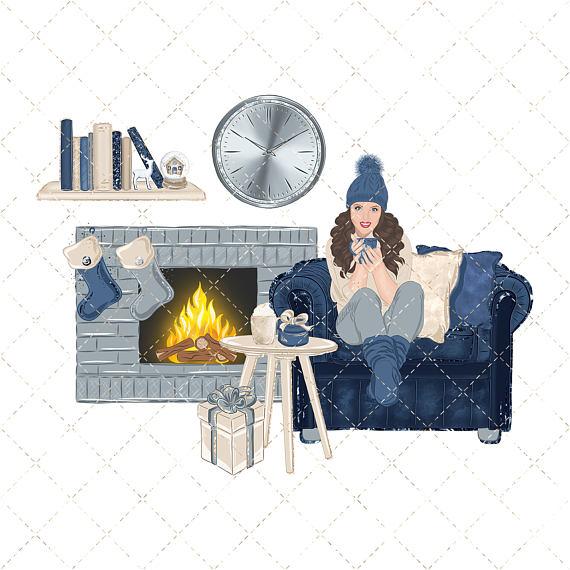 Homey christmas home . Winter clipart cozy