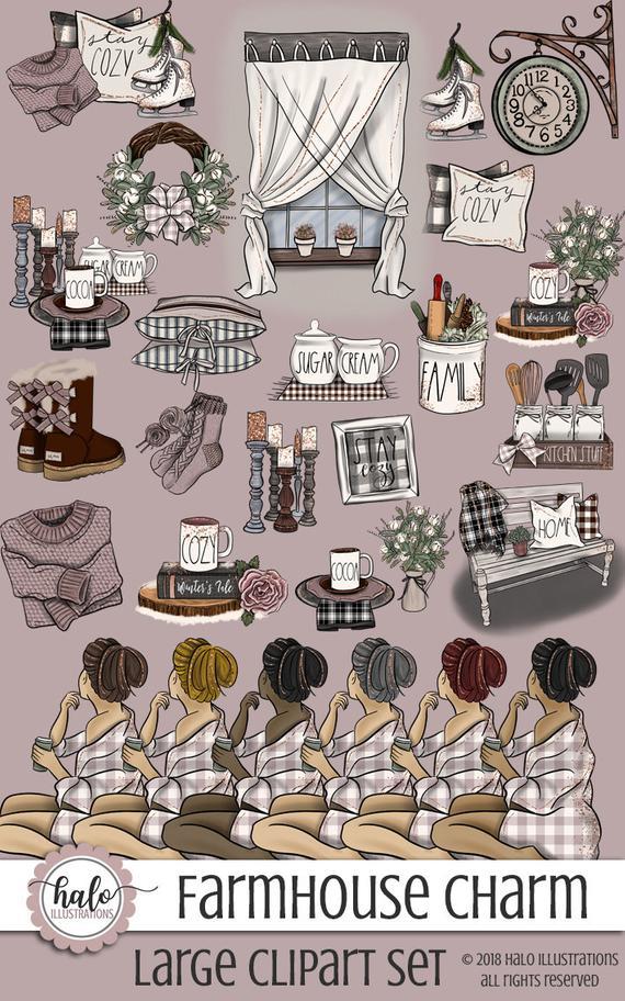 Fashion farmhouse hygge . Winter clipart cozy