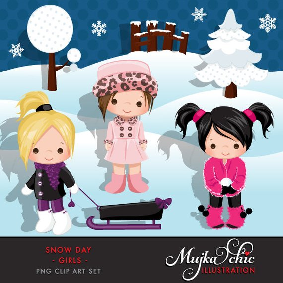 Snow girls instant download. Winter clipart day