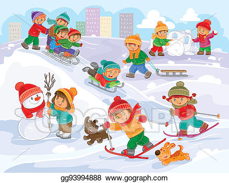 Stock illustration of little. Winter clipart day