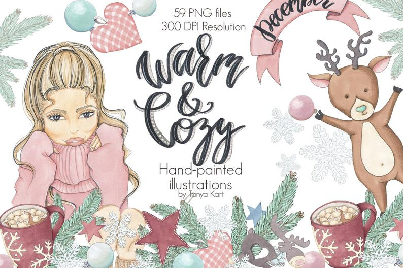 Warm and cozy christmas. Winter clipart december