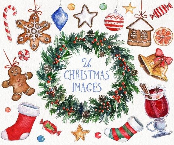 Winter clipart decoration. Watercolor christmas clip art