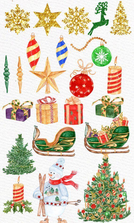 Watercolor christmas season . Winter clipart decoration