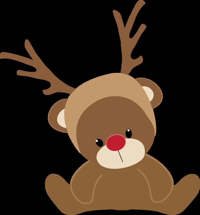 Winter clipart deer. Christmas teddy bear reindeer