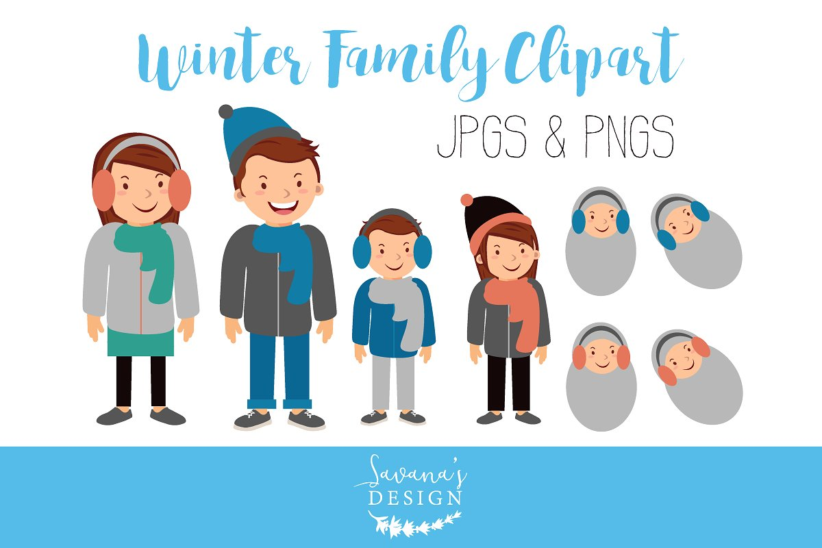 With clothing illustrations . Winter clipart family