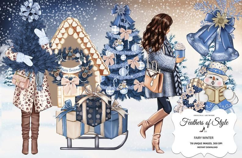 Winter clipart fashion. Girl cottage
