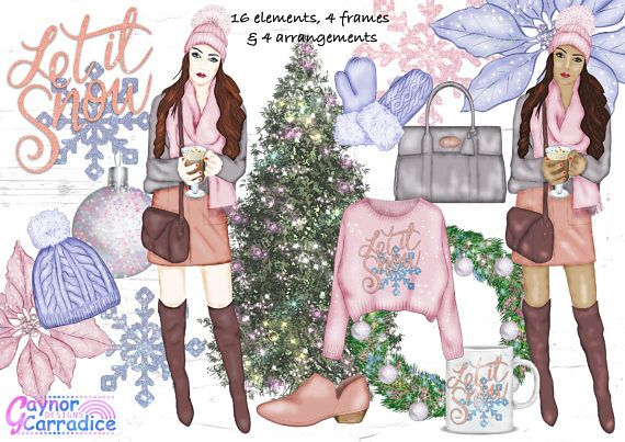 Clip art etsy . Winter clipart fashion