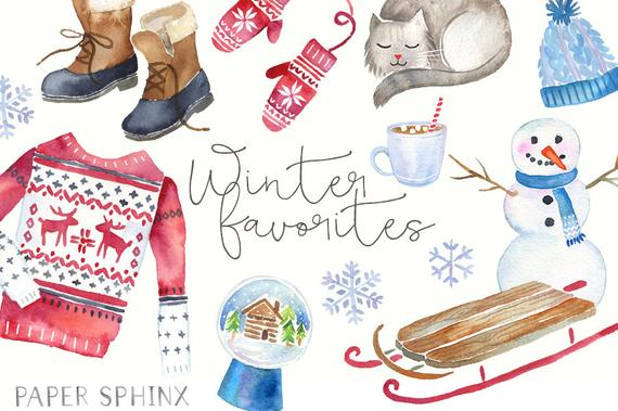 Winter clipart fashion. Watercolor holiday ugly sweater