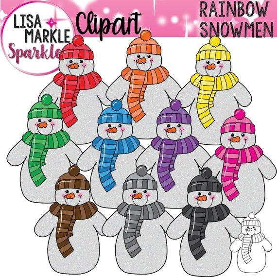Snowman glitter rainbow . Winter clipart festival