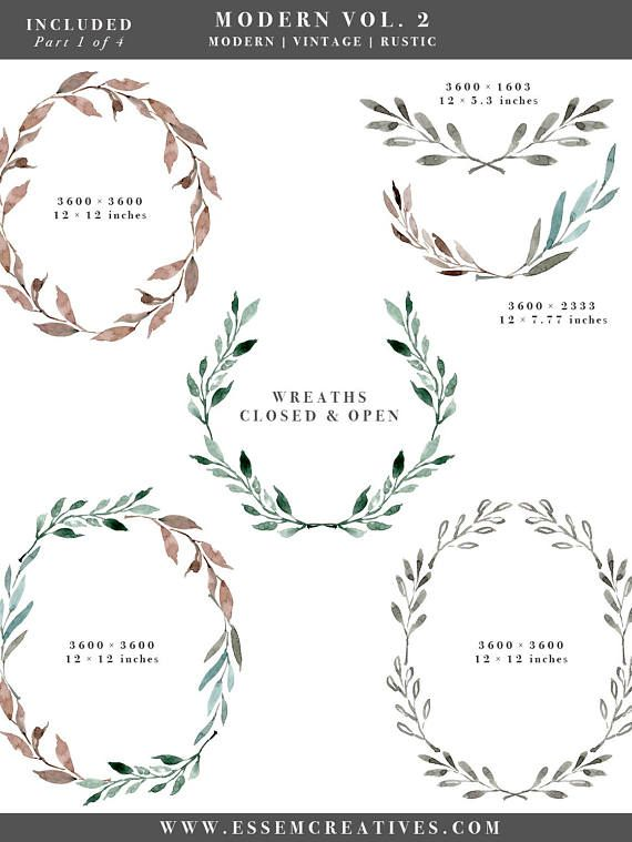 Winter clipart greenery. Watercolor leaf wreath leaves