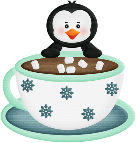 Penguin with and coffee. Winter clipart hot chocolate