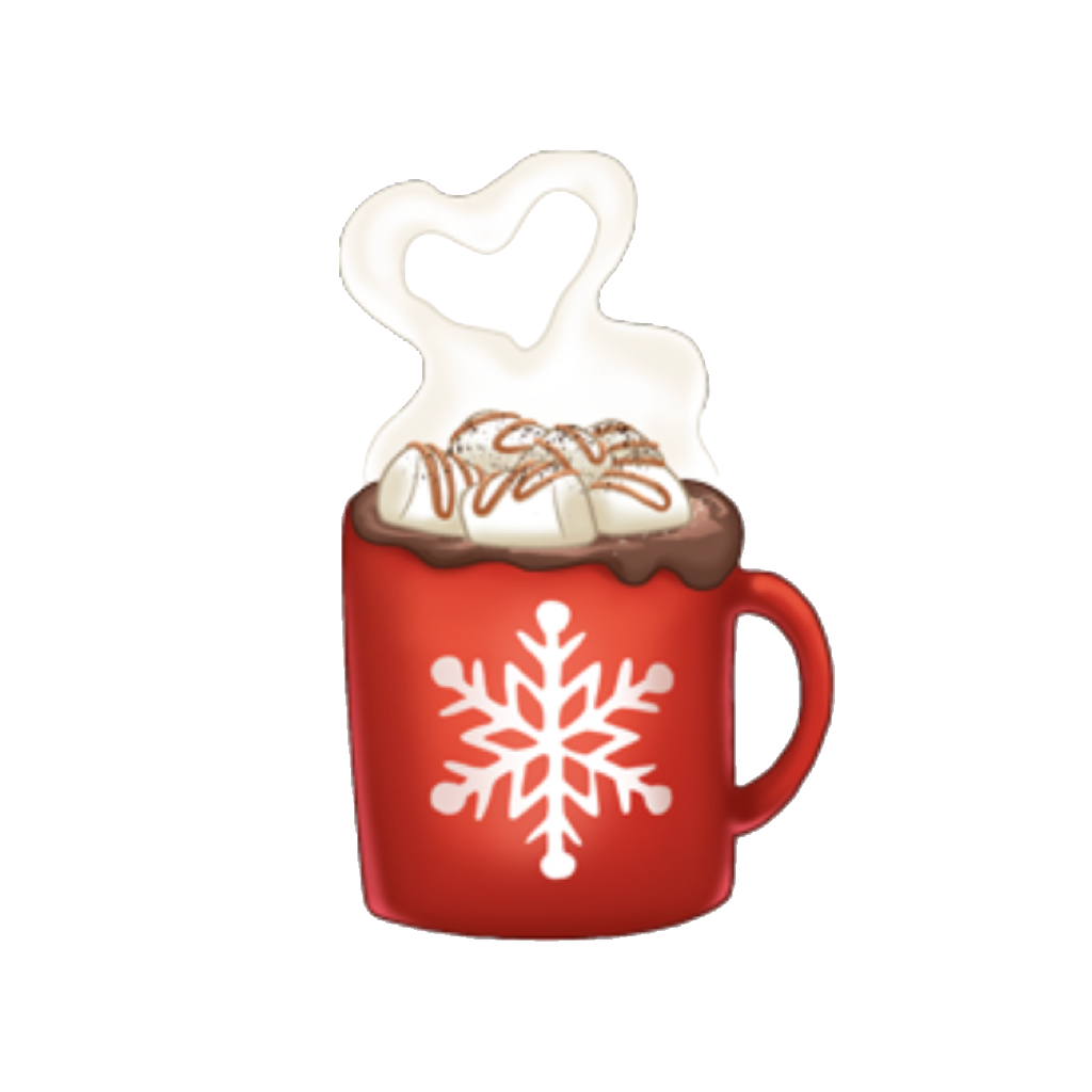Arimoji christmas snowflake red. Winter clipart hot chocolate