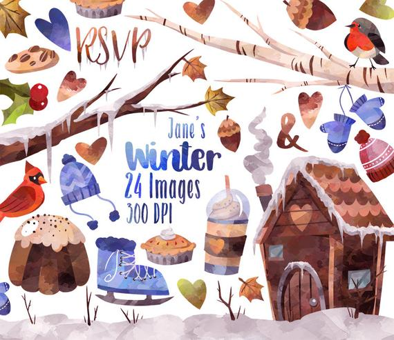 Winter clipart item. Watercolor snowy items download