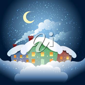 Winter clipart night. A vector illustration of