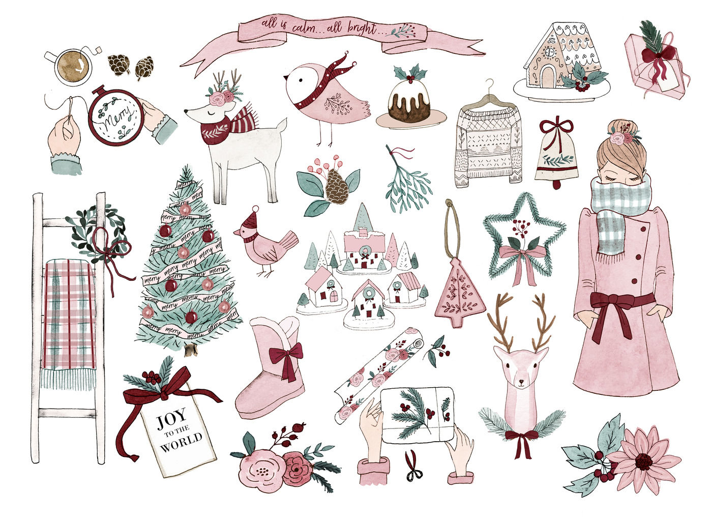 Winter clipart pink. Set by rosabebegraphics thehungryjpeg