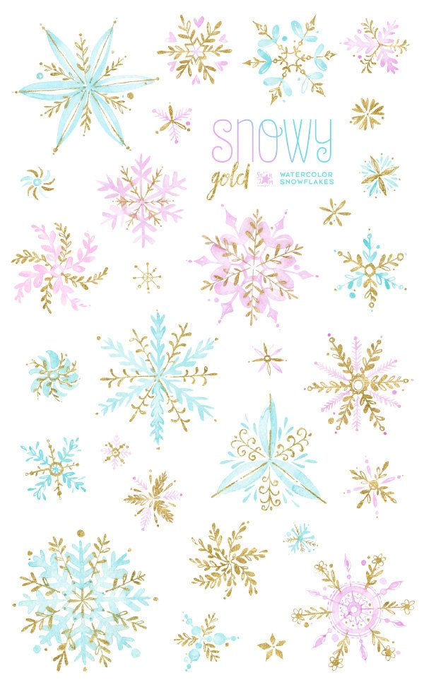 Snowy gold watercolor snowflakes. Winter clipart pink