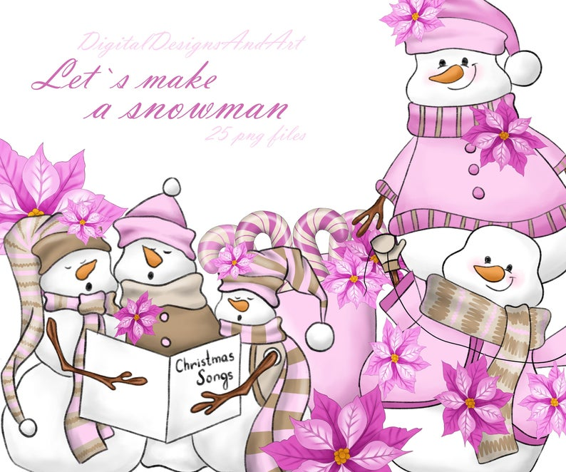 Snowman illustration watercolor commercial. Winter clipart pink