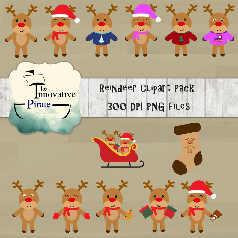 Winter clipart reindeer. Christmas pack holiday clip