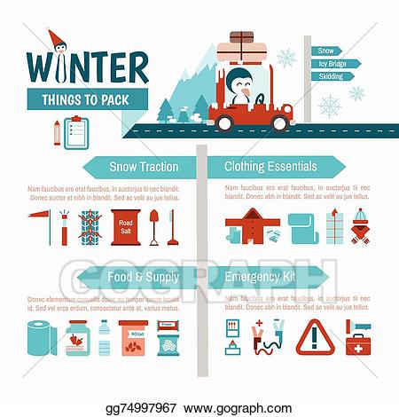 Eps vector driving packing. Winter clipart safety