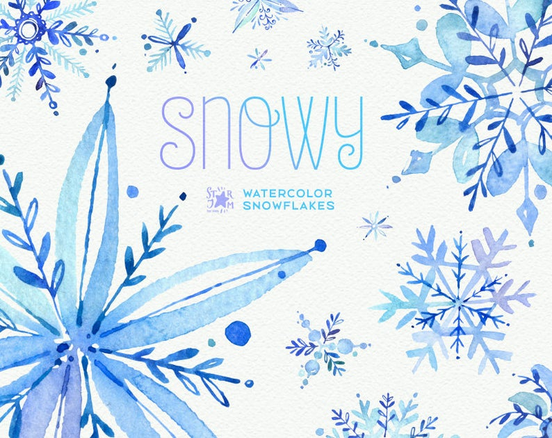 Watercolor snowflakes christmas holiday. Winter clipart snowy