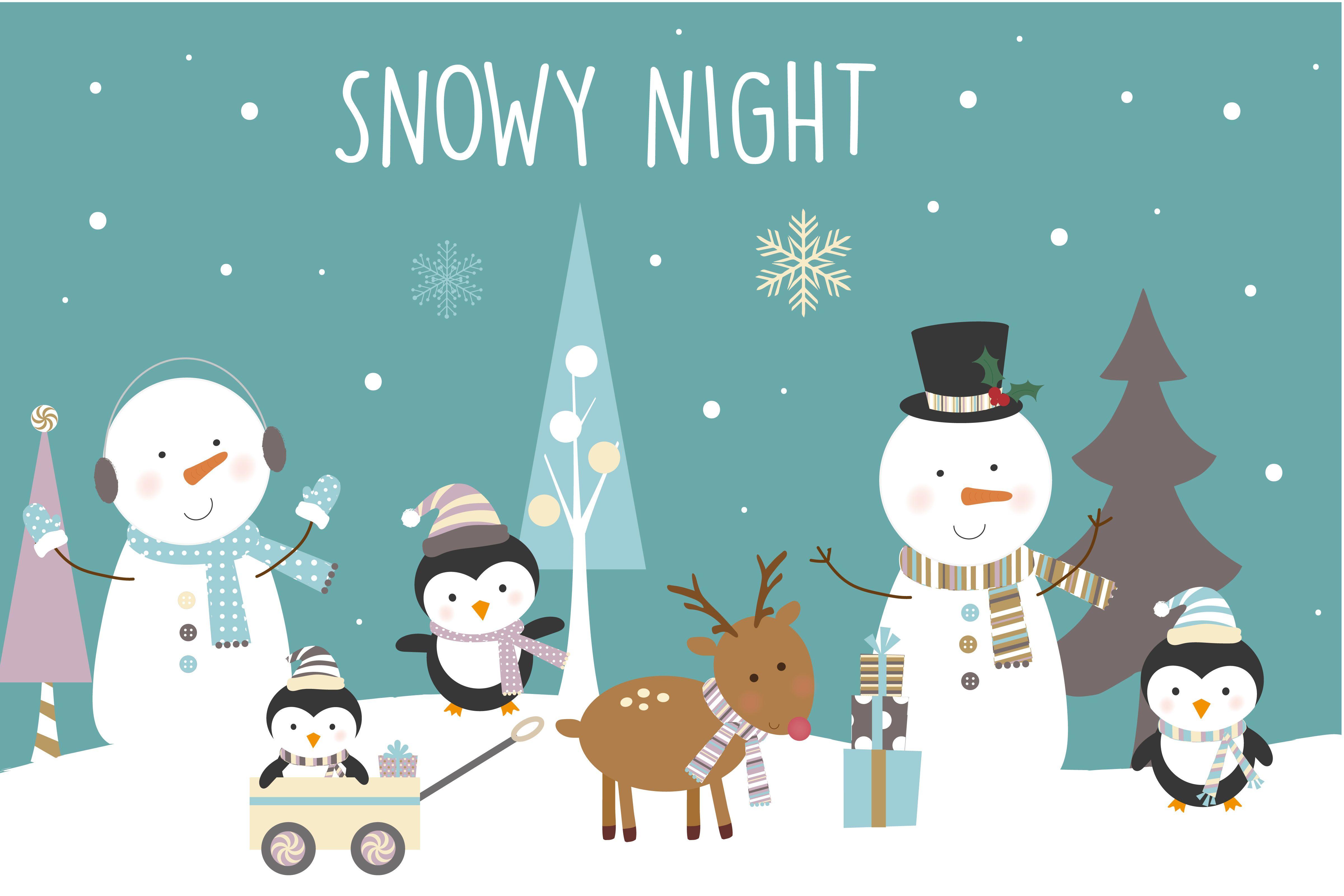 Winter clipart snowy. Night design illustrations